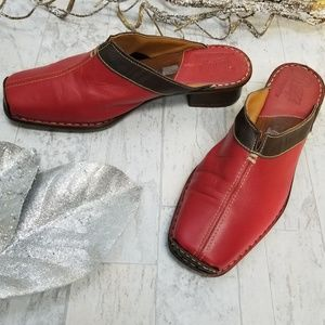 Tsonga Red & Black Leather Mules Size 8